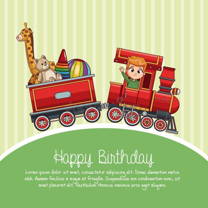 С днем рождения шарж поезда бесплатная иллюстрация