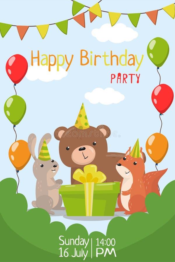 С днем рождения party приглашение с иллюстрацией вектора шаблона даты, рогульки или плаката бесплатная иллюстрация