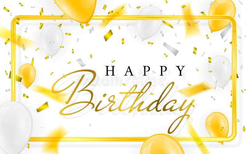 С днем рождения vector воздушные шары золота confetti и белизны и яркого блеска фольги знамени партии торжества золотые иллюстрация вектора