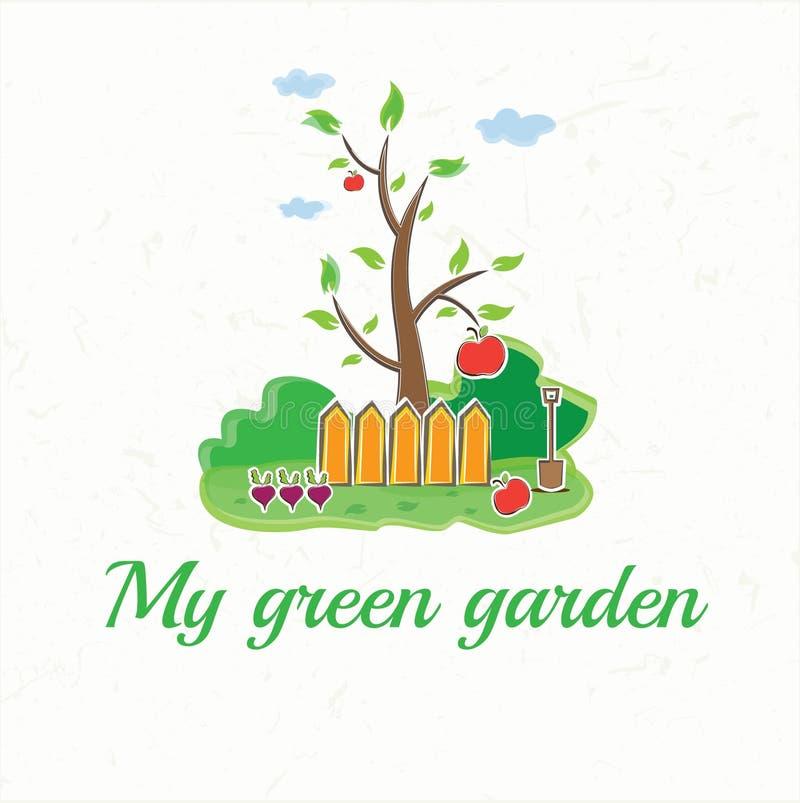 с деревом, загородками, лопаткоулавливателем, овощами и ap иллюстрация вектора