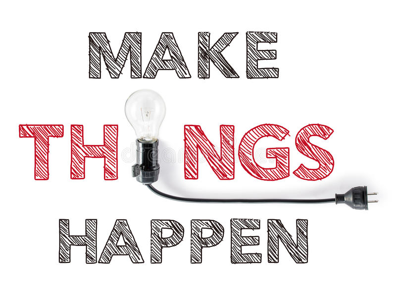 Сделайте вещи случиться фраза и электрическая лампочка, сочинительство руки, достигает стоковое изображение rf