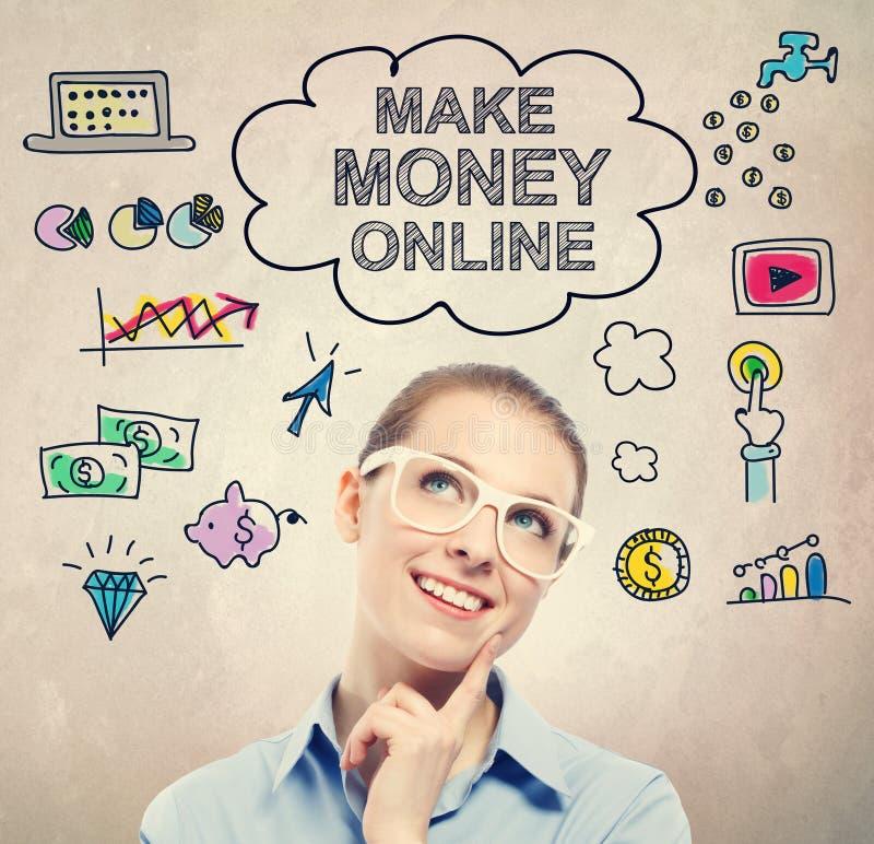 Сделайте деньгами онлайн эскиз идеи с молодой бизнес-леди стоковое изображение