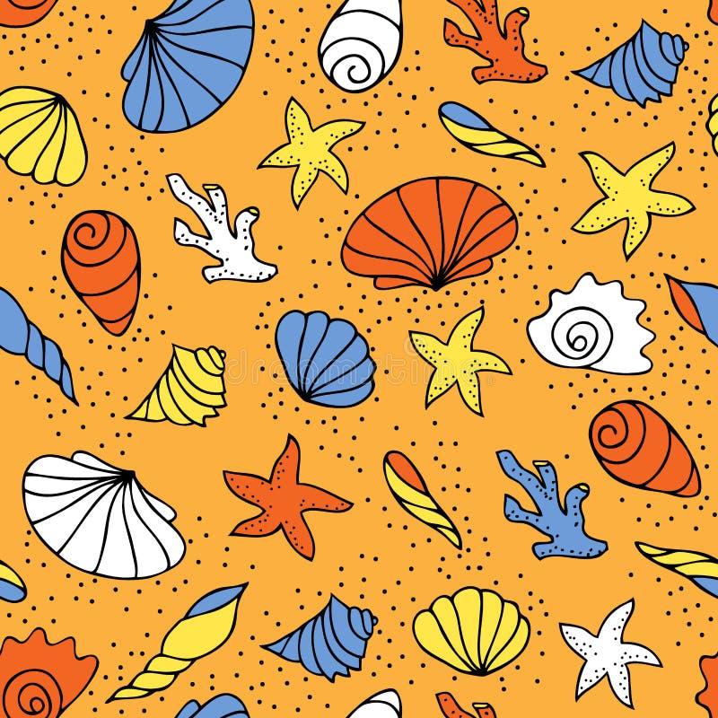 сделайте по образцу безшовные seashells иллюстрация вектора