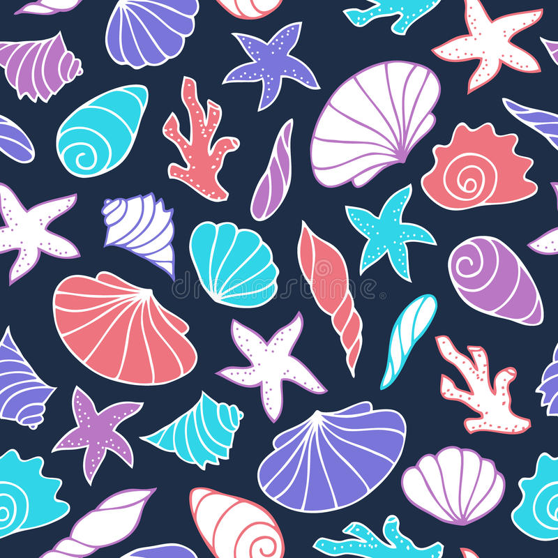 сделайте по образцу безшовные seashells иллюстрация штока