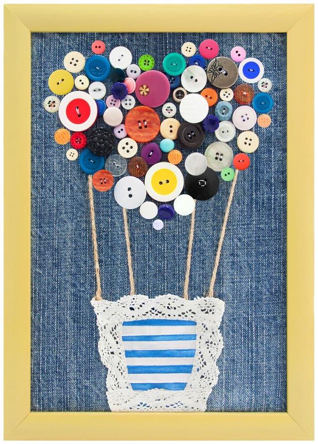 Сделайте по образцу воздушный шар кнопок в рамке на предпосылке джинсов стоковые фотографии rf