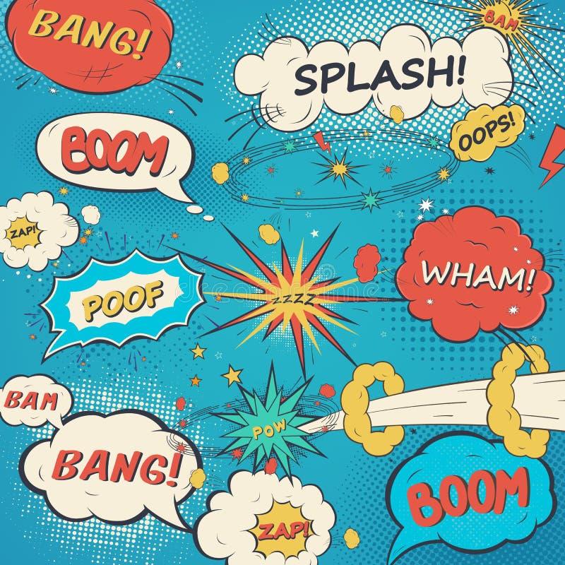 Сделайте по образцу шуточные пузыри речи в стиле искусства шипучки бесплатная иллюстрация
