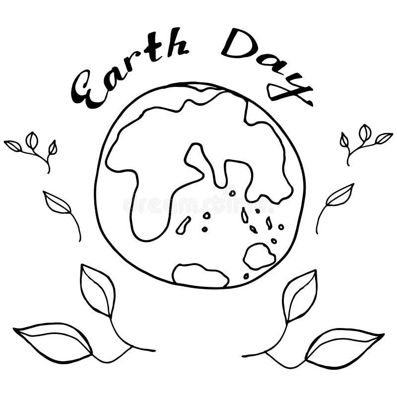 Сделайте эскиз к земле планеты в черно-белых цветах для того чтобы отпраздновать день земли иллюстрация вектора