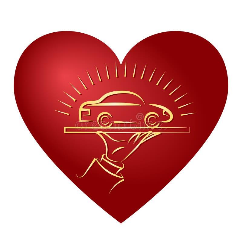 Сделайте эскиз к сияющему автомобилю стоя на подносе кельнер деталь в форме стилизованного сердца иллюстрация штока