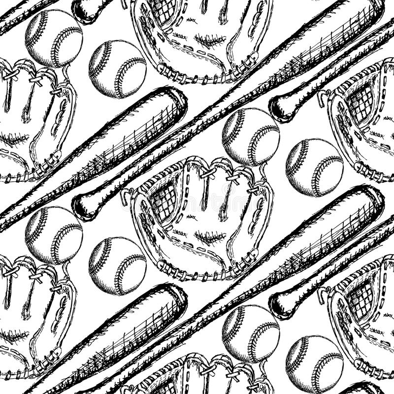 Сделайте эскиз к шарику бейсбола, летучей мыши и перчатке, безшовной картине иллюстрация вектора