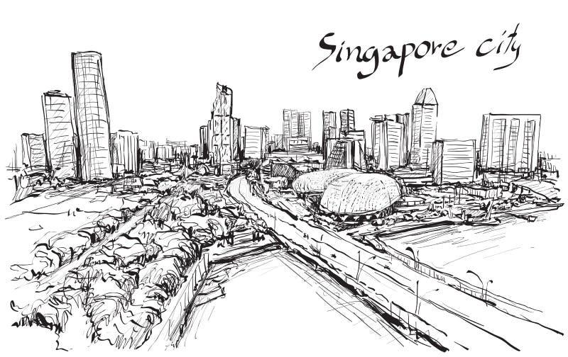 Сделайте эскиз к scape города горизонта Сингапура, притяжки свободной руки иллюстрация штока
