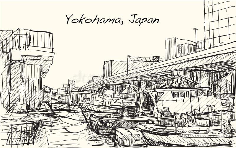 Сделайте эскиз к scape города illustr притяжки свободной руки порта Японии, Иокогама иллюстрация вектора