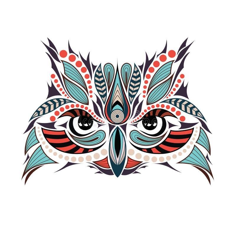 Сделанная по образцу покрашенная голова сыча Оно может быть использовано для дизайна футболки иллюстрация вектора