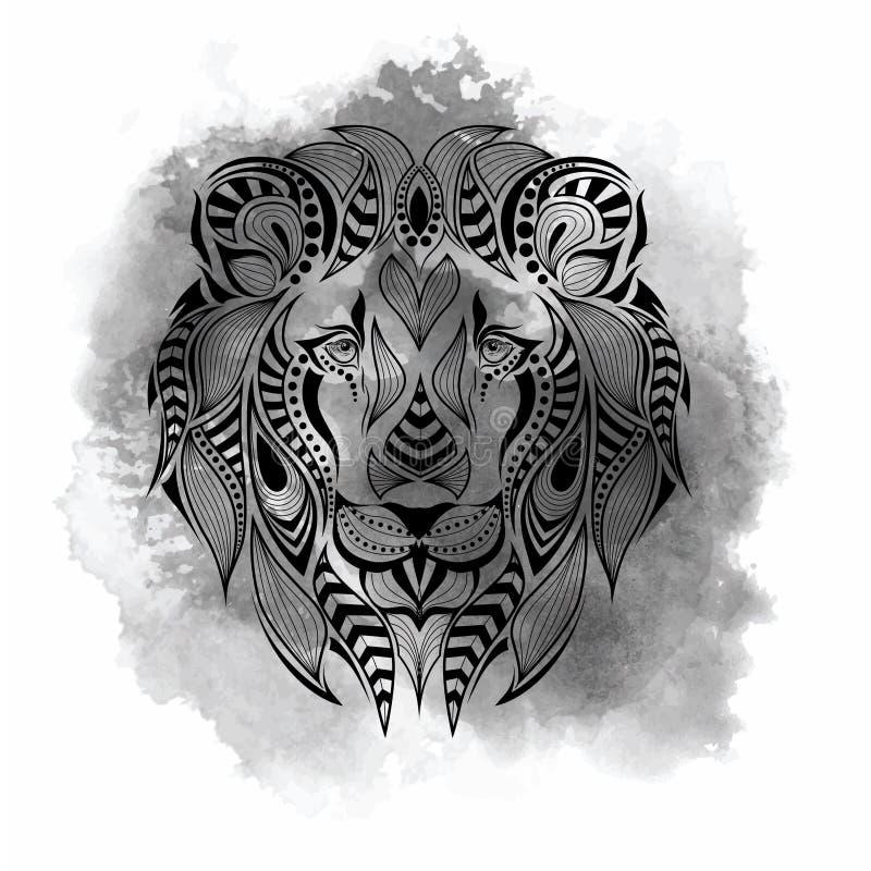 Сделанная по образцу покрашенная голова льва Африканский, индийский, тотем, дизайн татуировки Оно может быть использовано для диз иллюстрация вектора