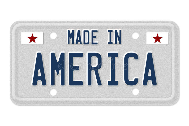 Сделанный в номерном знаке Америки иллюстрация вектора