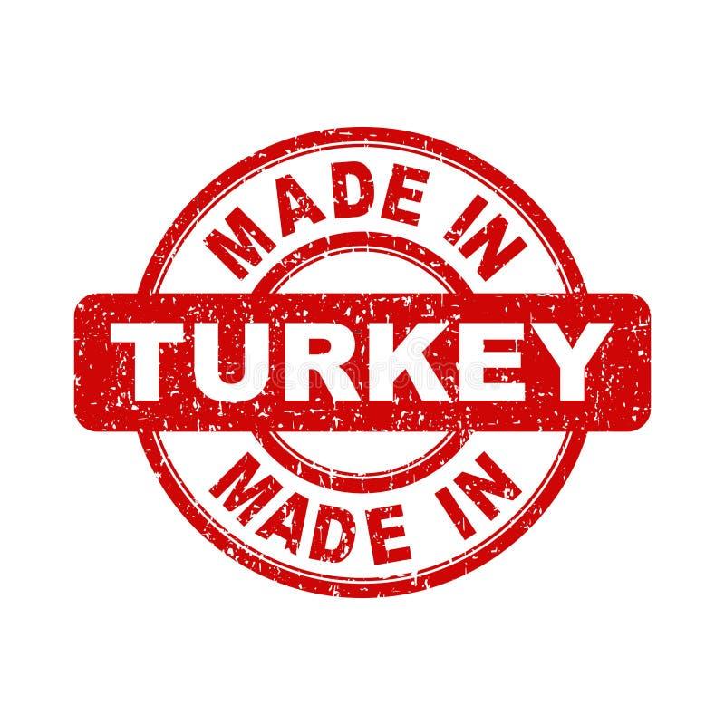 Сделанный в штемпеле красного цвета Турции иллюстрация вектора на белом backgroun иллюстрация штока