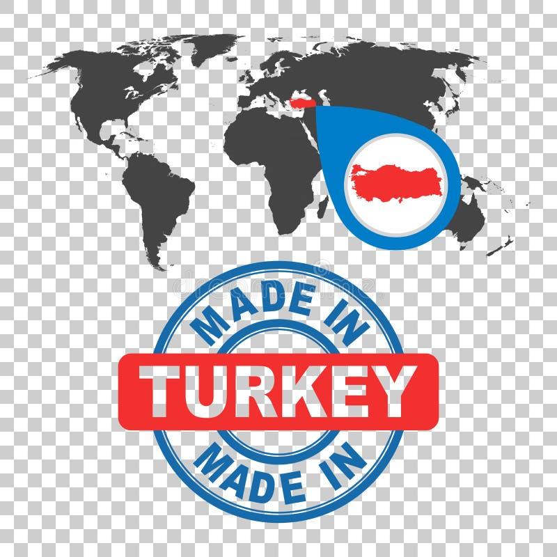 Сделанный в штемпеле Турции Карта мира с красной страной белизна вектора 8 эмблем изолированная eps бесплатная иллюстрация