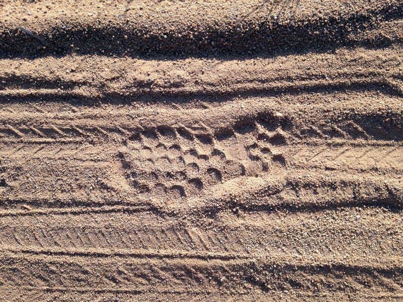 След ноги, ботинок на песке стоковая фотография