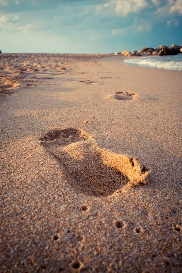 След ноги в песке, море стоковое фото
