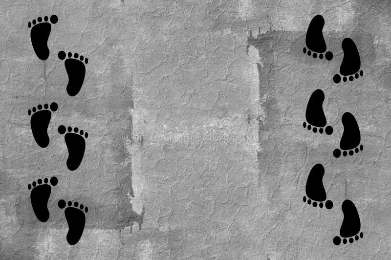 След ноги на предпосылке стены цемента grunge иллюстрация штока