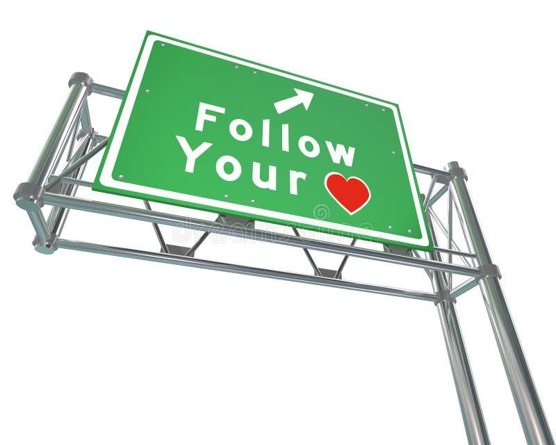 Следовать вашим знаком сердца - интуиция водит к будущему успеху иллюстрация вектора