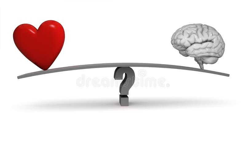 Следовать вашим сердцем или вашей головой? иллюстрация штока