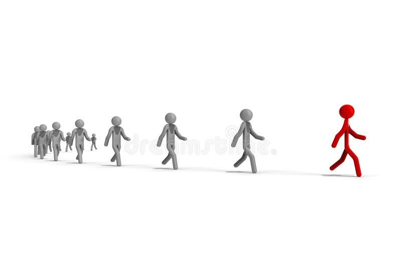 Следовать концепцией руководителя иллюстрация вектора