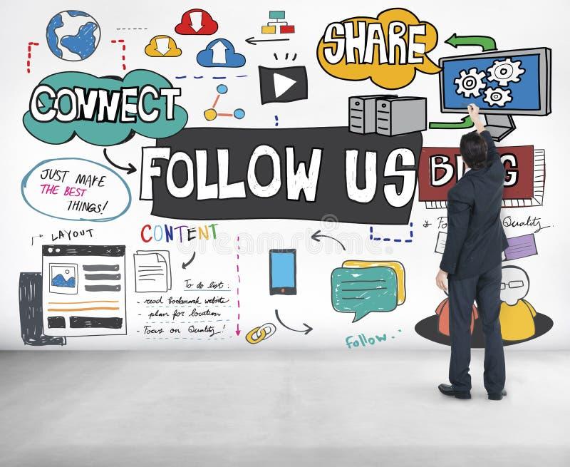 Следовать нами концепция социального блога средств массовой информации онлайн стоковое фото rf