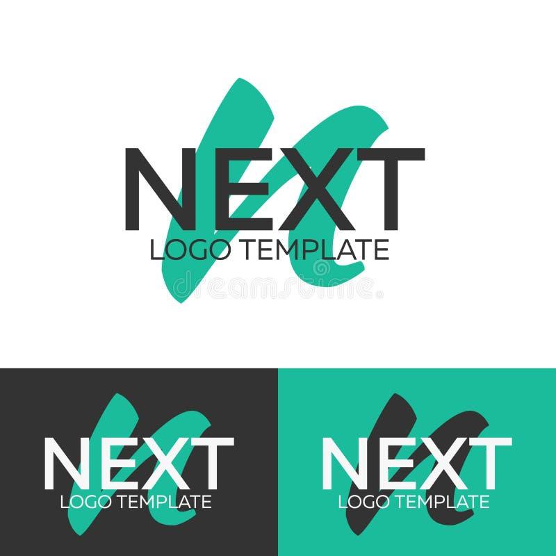 Следующий логотип логос n письма Шаблон логотипа вектора Концепция логотипа иллюстрация штока