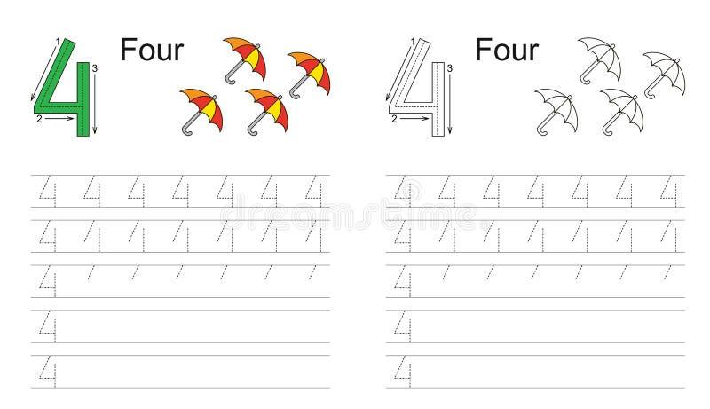 Следуя рабочее лист на диаграмма 4 иллюстрация вектора