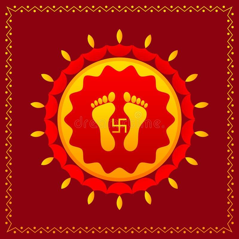 Следы ноги богини Lakshami на Diwali иллюстрация вектора