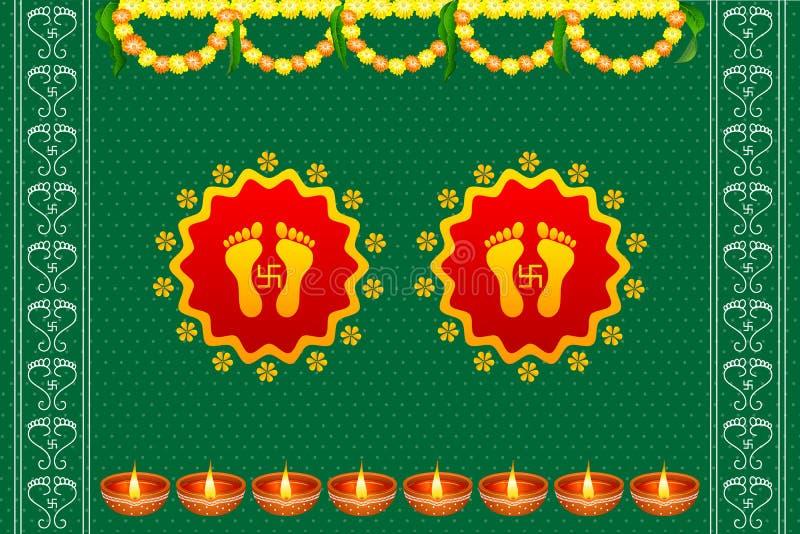 Следы ноги богини Lakshami на Diwali бесплатная иллюстрация