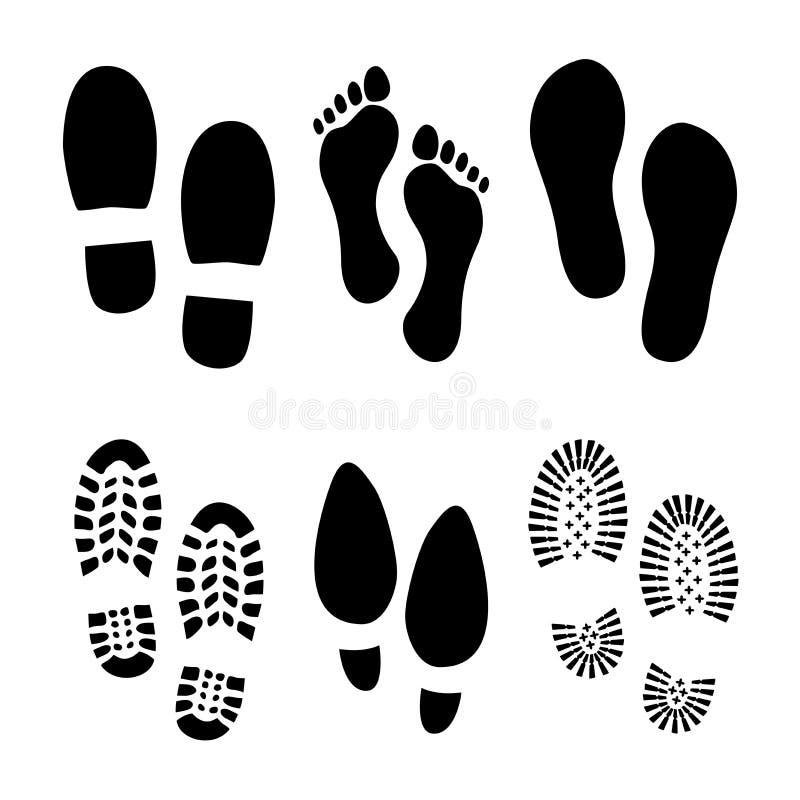 Следы ноги и ботинки иллюстрация штока