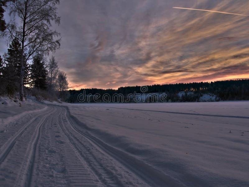 Следы снегохода в ландшафте зимы стоковая фотография rf
