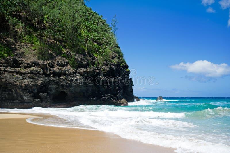 След Kalalau пляжа, Кауаи стоковая фотография rf