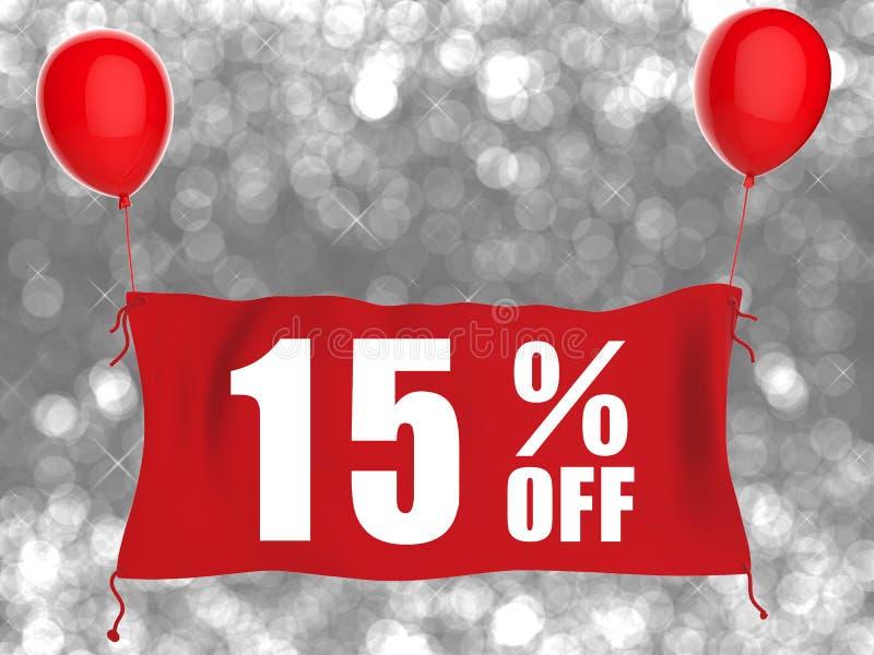 15% с знамени на красной ткани бесплатная иллюстрация