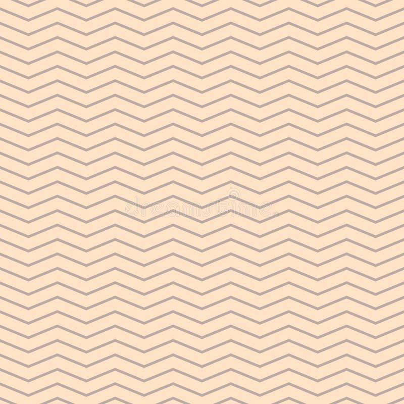Сливк зигзага Шеврона и бежевая безшовная картина иллюстрация вектора