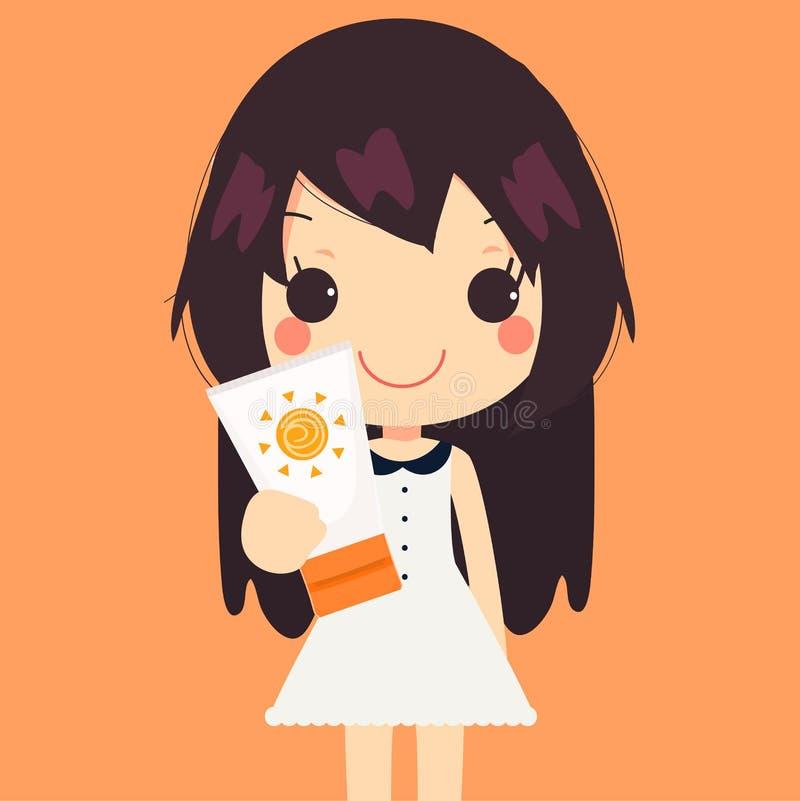 Сливк солнцезащитного крема изолировала иллюстрацию вектора милой женщины красивую бесплатная иллюстрация