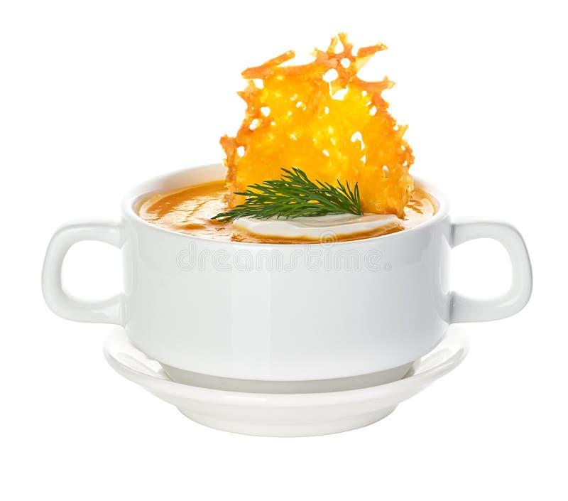 Сливк супа тыквы с хрустящими корочками пармезана стоковые фотографии rf