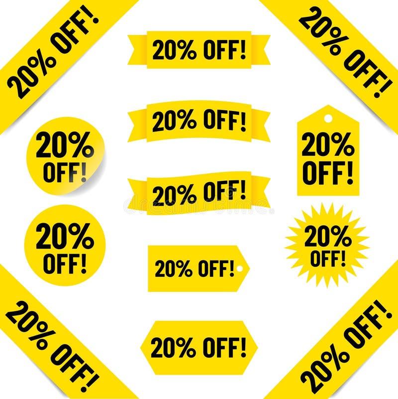 20% с иллюстрации бирки продаж бесплатная иллюстрация
