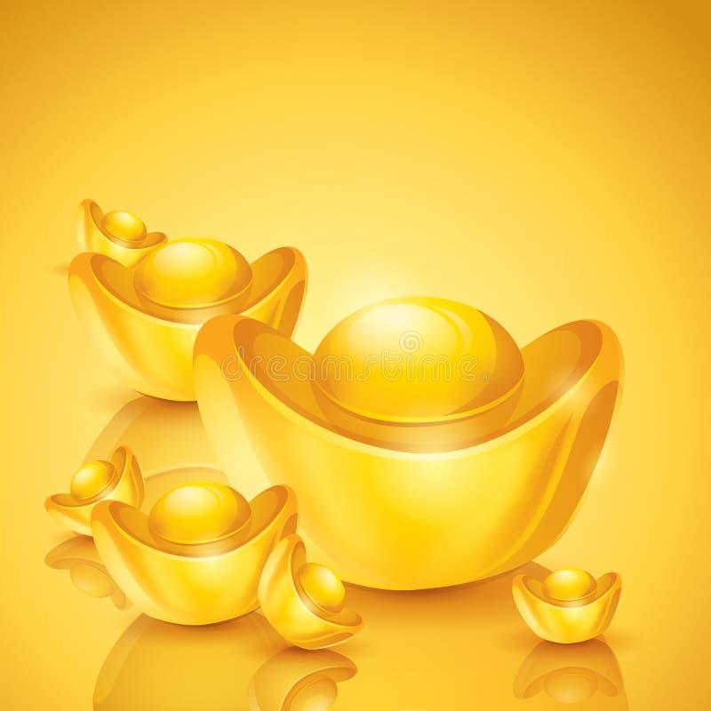 слиток китайское золото иллюстрация вектора