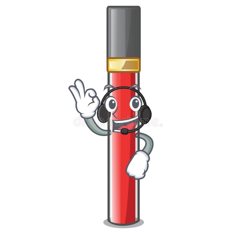 С лоском губы наушников над таблицей макияжа мультфильма иллюстрация штока