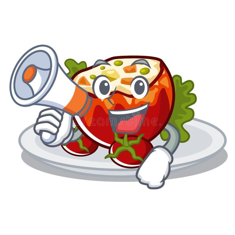 С мегафоном заполнил томаты положенные на плиты характера бесплатная иллюстрация
