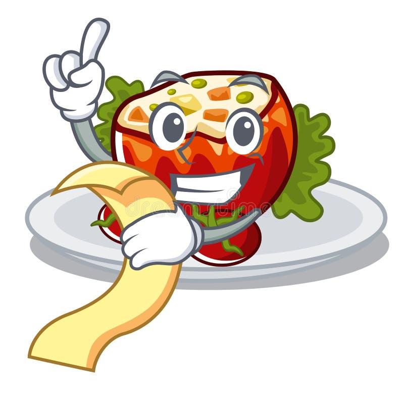 С меню заполнил томаты на доске мультфильма иллюстрация вектора
