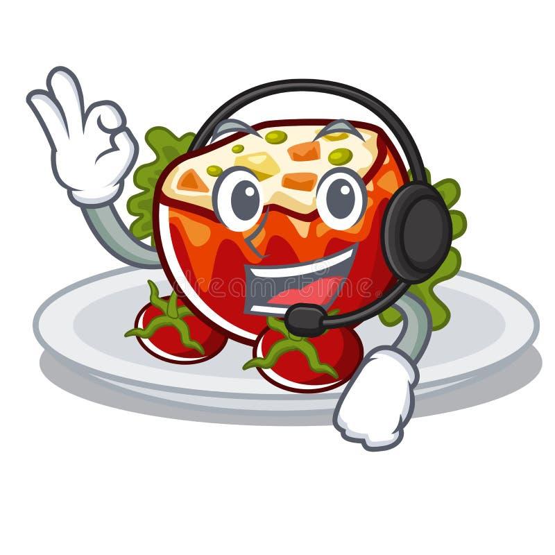 С наушниками заполнил томаты в форме мультфильма иллюстрация штока