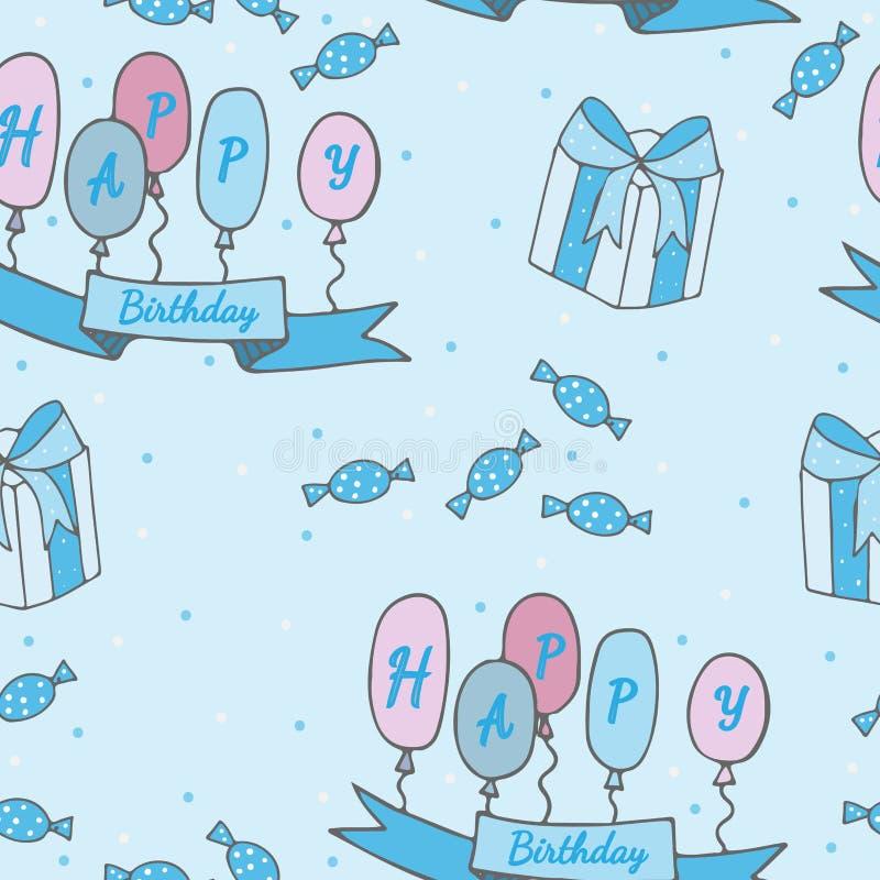С днем рождения безшовная картина с большим подарком, лентой с ballo бесплатная иллюстрация
