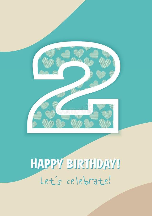 С днем рождения 2 года иллюстрация вектора