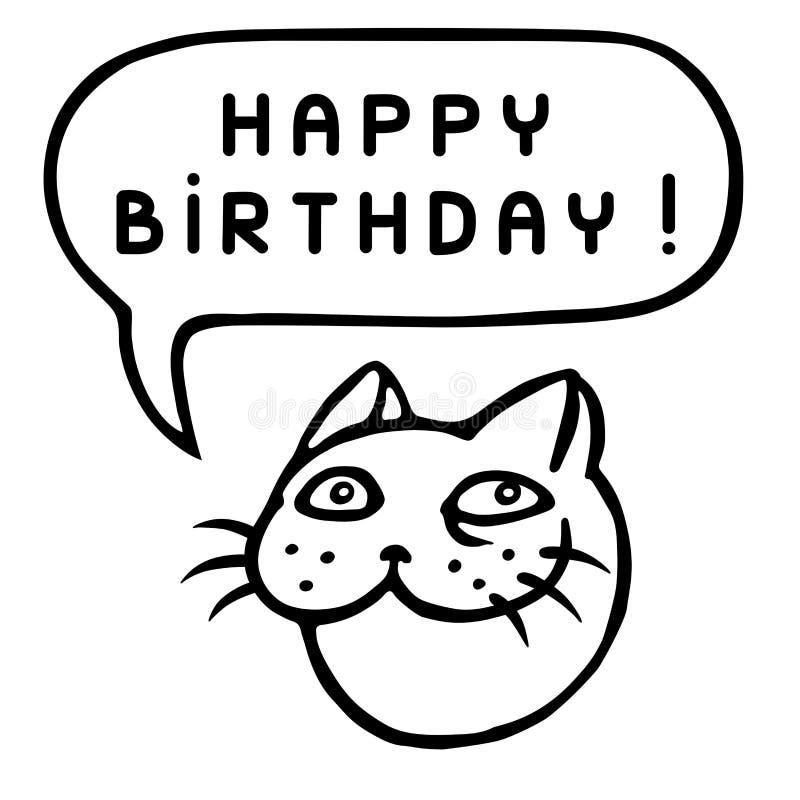 С днем рождения! Голова кота шаржа речи персоны пузыря вектор графической говоря также вектор иллюстрации притяжки corel иллюстрация штока