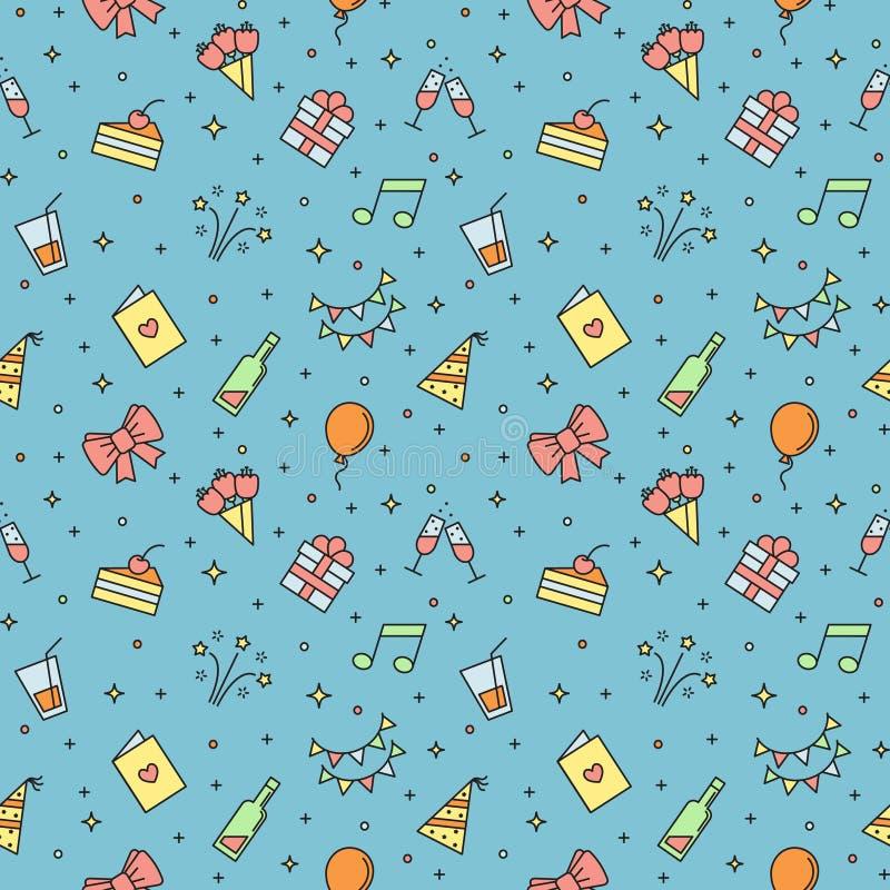 С днем рождения картина пестротканого вектора партии безшовная Дизайн плана minimalistic иллюстрация вектора