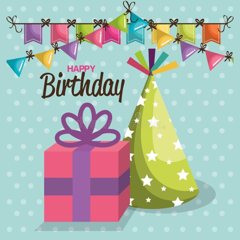 С днем рождения карточка торжества иллюстрация вектора