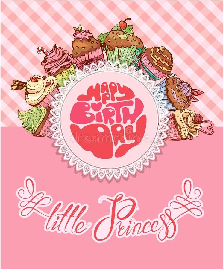С днем рождения, маленькая принцесса - карточка праздника для девушки иллюстрация штока